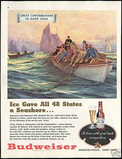 Budweiser Beer 48 States Fisherman Ice (1948)