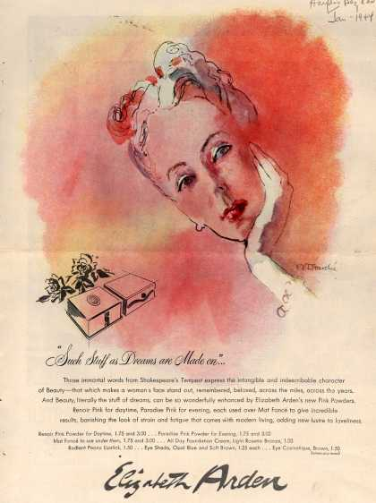 "Elizabeth Arden's Pink Powders – ""Such Stuff as Dreams are Made on""... (1944)"
