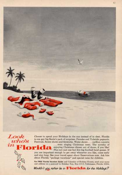 Florida Holidays Santa Claus In Ocean Swim (1964)