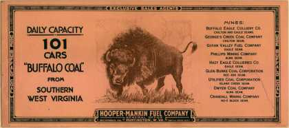 "Hooper-Mankin Fuel Co.'s coal – Daily Capacity 101 Cars ""Buffalo Coal"" from Southern West Virginia"