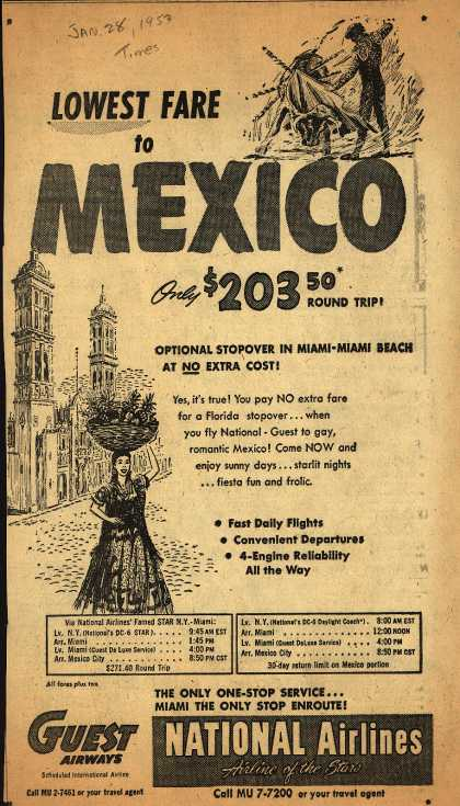 Guest Airways and National Airline's Mexico – Lowest Fare to Mexico Only $203.50 Round Trip (1953)