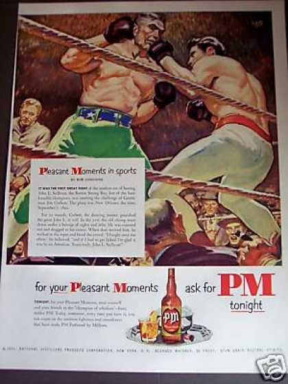 Boxer John L Sullivan Art Pm Whiskey (1951)