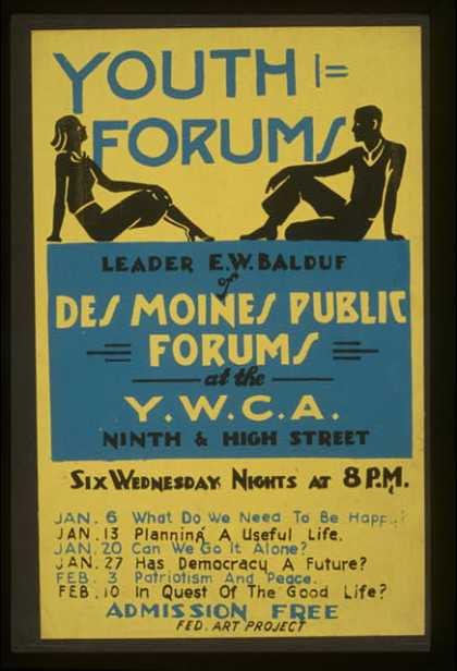 Youth forums – Leader E.W. Balduf of Des Moines Public Forums at the Y.W.C.A. Ninth & High Street. (1937)