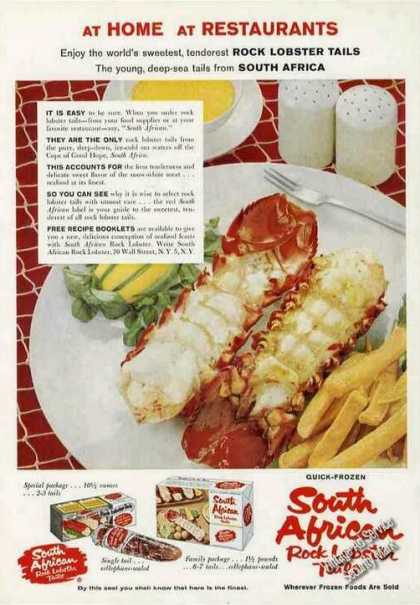South African Rock Lobster Tails Nice Photo (1958)