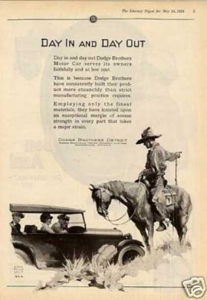 "Dodge Brothers Car Ad ""Day In and Day Out... (1924)"