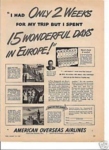 American Overseas Airlines To Europe (1947)