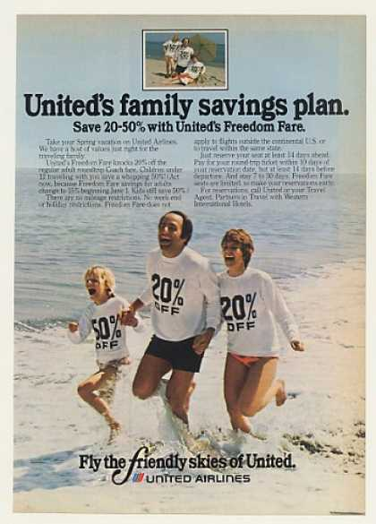 United Airlines Freedom Fare Family Beach (1977)
