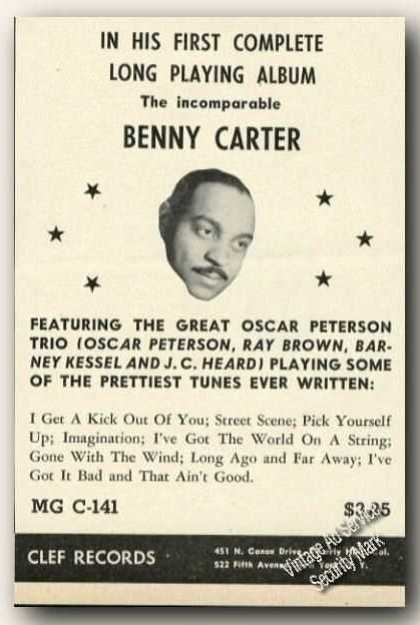 Benny Carter Picture Ad Music Album Promo (1954)
