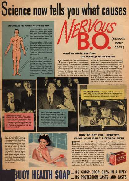 Lever Brothers Company's Lifebuoy Health Soap – Science now tells you what causes Nervous B.O. (Nervous Body Odor) (1940)