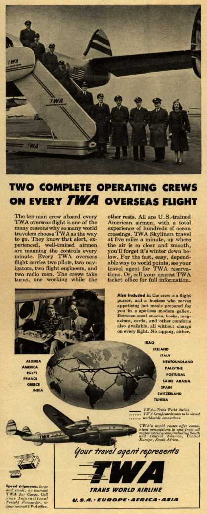 Trans World Airline – Two Complete Operating Crews One Every TWA Overseas Flight (1948)