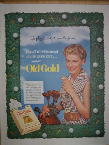 Old Gold Cigarettes We play it from the fairway. Golf theme. (1952)