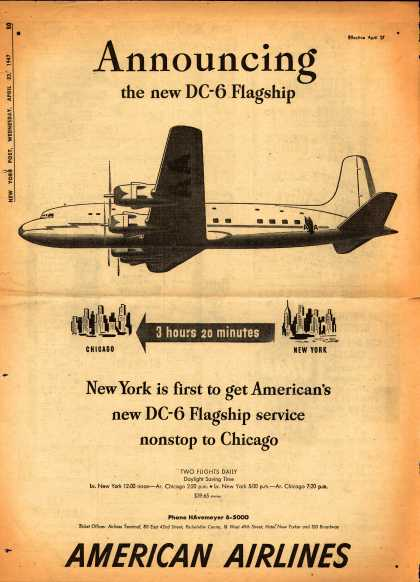 American Airline's DC-6 Service from New York to Chicago – Announcing the New DC-6 Flagship (1947)