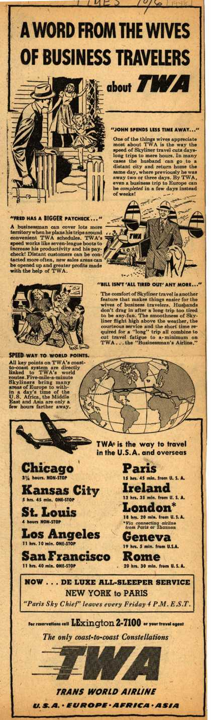 Trans World Airline's Business travel – A Word From The Wives Of Business Travelers about TWA (1948)