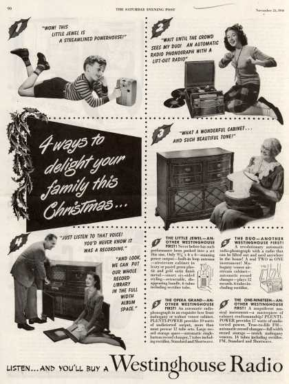 Westinghouse Electric Corporation's Radio Phonograph – 4 ways to delight your family this Christmas... (1946)