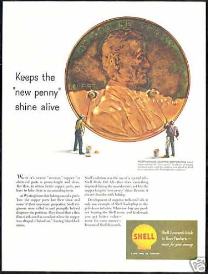 Lincoln Penny Shine Shell Oil Doesn't Discolor (1956)