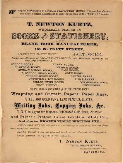 T. Newton Kurtz's wholesale books and stationary – Books and Stationery