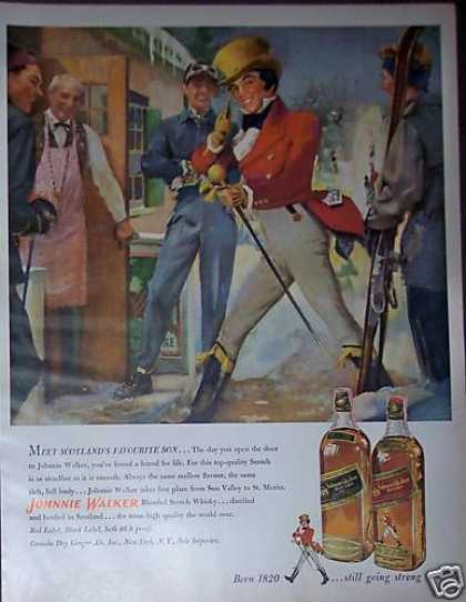 Johnnie Walker at Ski Resort Scotch Whisky Art (1951)