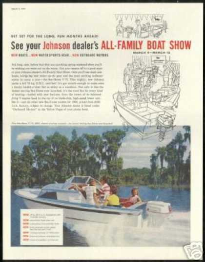 Johnson V-75 Outboard Motor Boat Vintage Photo (1960)