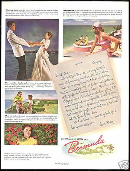 Bermuda Travel Dance Golf Flowers Beach (1948)