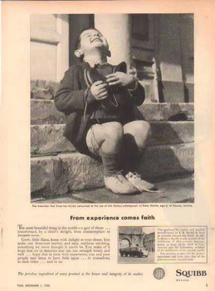 Squibb – Child Thankful for a Pair of Shoes – Sold (1952)