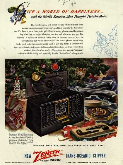 Zenith Radio Corporation's Trans-Oceanic Clipper – Give A World Of Happiness...with the World's Smartest, Most Powerful Portable Radio (1946)
