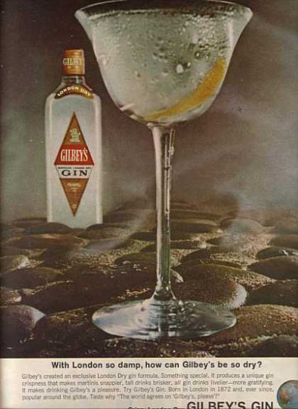 Gilbey's London Dry Gin (1964)