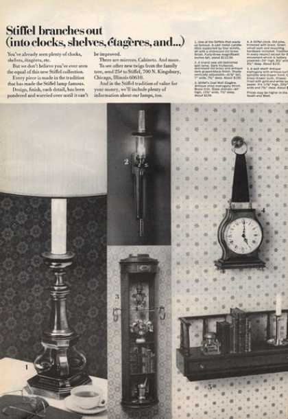 Stiffel Clocks Shelves Lamp Photo (1971)