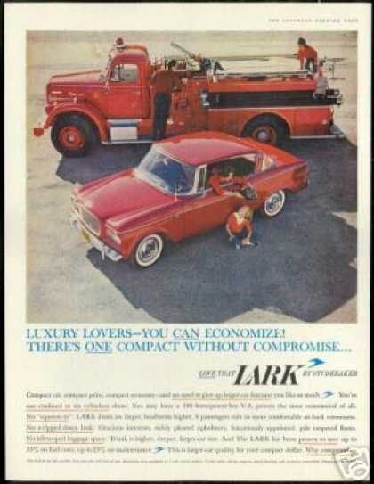 Red Fire Engine Truck Studebaker Lark Photo (1960)