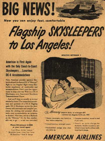 American Airline's Coast-to-Coast Skysleepers – Big News! Now you can enjoy fast, comfortable Flagship Skysleepers to Los Angeles (1948)