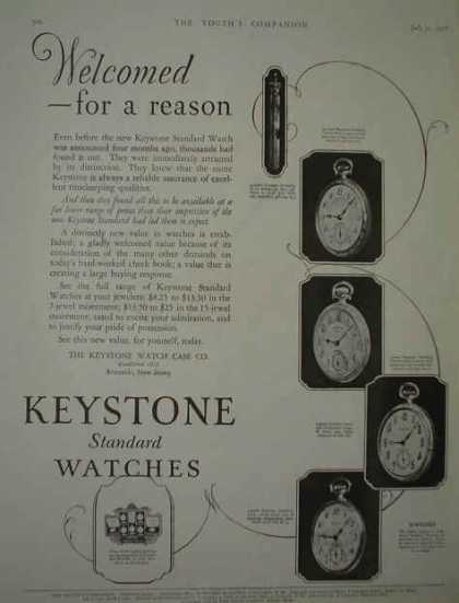 Keystone Standard Watches Welcomed for a reason (1926)