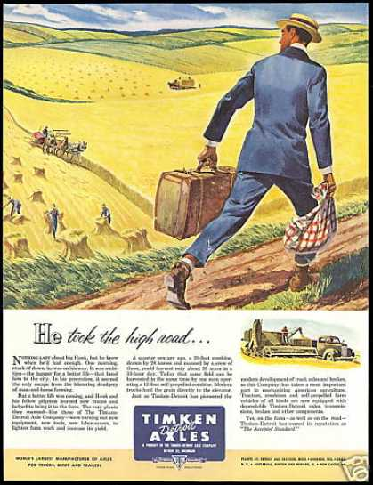 Farm Harvest Timken Detroit Axles Art (1952)