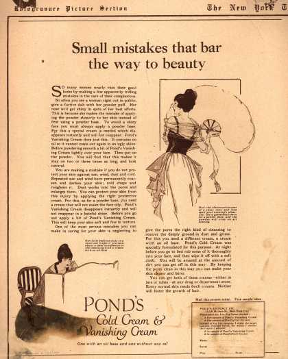 Pond's Extract Co.'s Pond's Cold Cream and Vanishing Cream – Small mistakes that bar the way to beauty (1920)