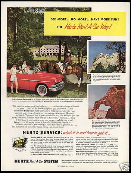 Gatlinburg Tennessee Greystone Hertz Rent A Car (1954)