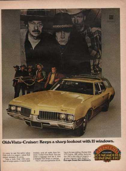 Oldsmobile Yellow Vista Cruiser Car Print (1969)