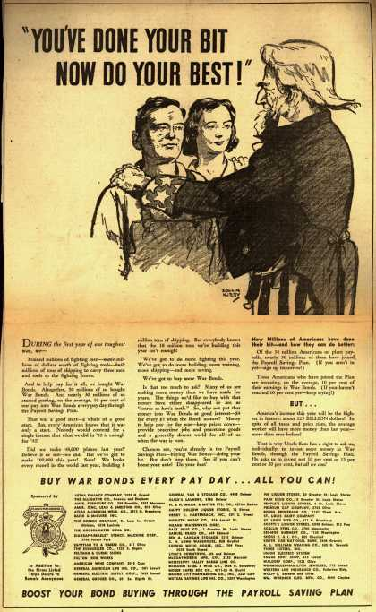 "Variou's War Bonds – ""You've Done Your Bit Now Do Your Best!"" (1943)"