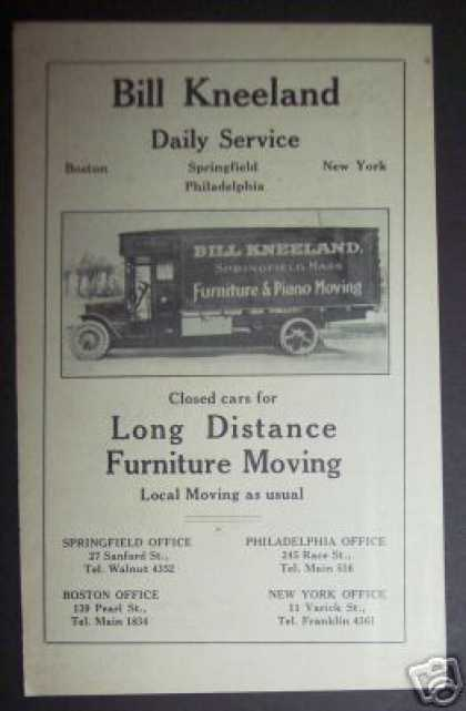Bill Kneeland Movers Moving Van Photo (1922)