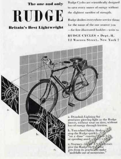 Rudge Bicycle Britain's Best Lightweight Rare (1949)