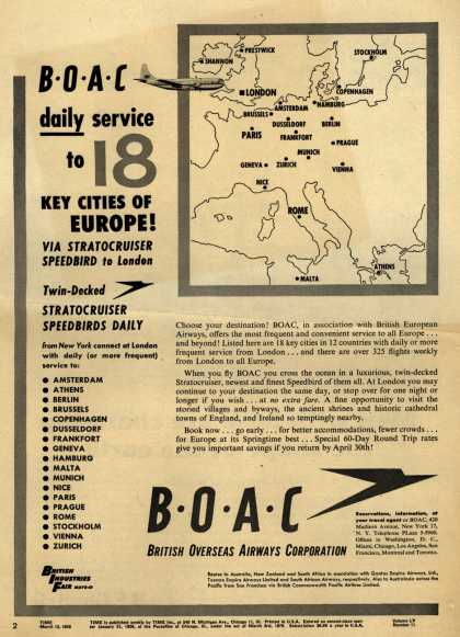 British Overseas Airways Corporation – BOAC daily service to 18 Key Cities of Europe (1950)