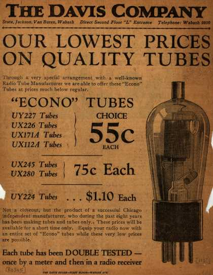 Davis Company's Radio Tubes – The Davis Company, Our Lowest Prices on Quality Tubes (1930)