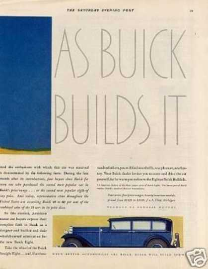 Buick Eight Car Color Ad Centerfold (1931)