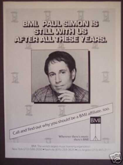Paul Simon Photo Bmi Records Promo Trade (1985)
