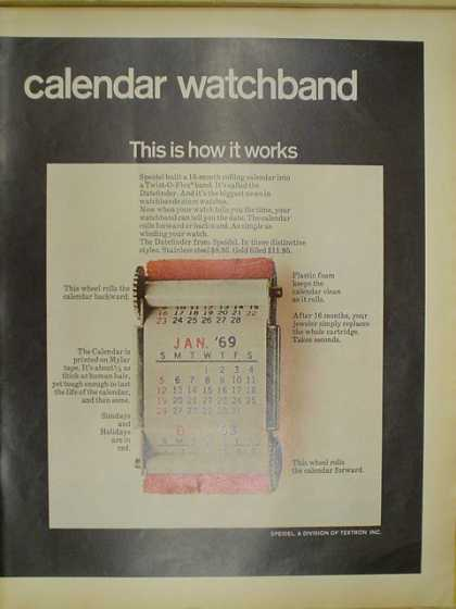 Speidel calendar Watchband. This is how it works (1968)