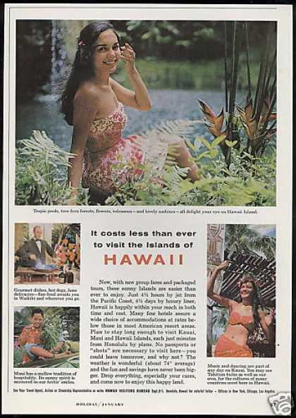 Hawaii Travel 4 Photo Lovely Wahines (1963)