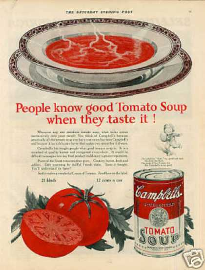 "Campbell's Tomato Soup Ad ""People Know Good... (1925)"