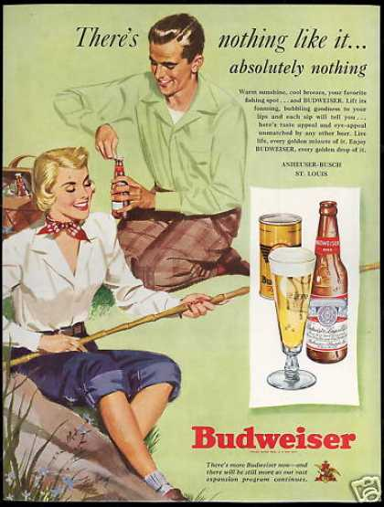 Budweiser Beer Bottle Can Couple Picnic Art (1949)
