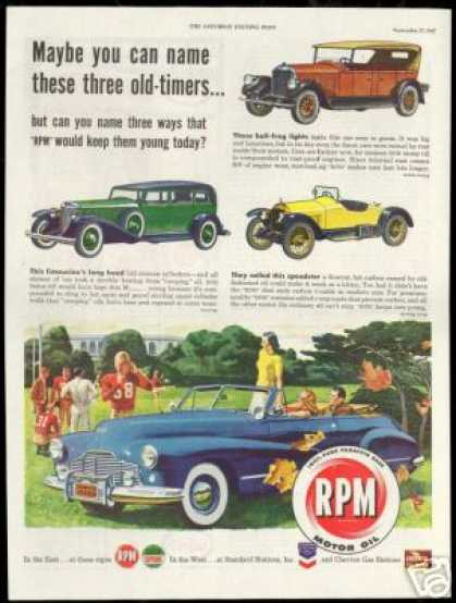 Vintage Car Marmon Pierce Arrow Bearcat RPM Oil (1947)