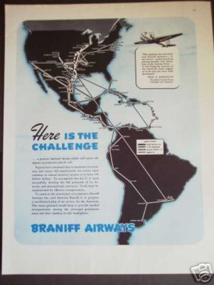 Braniff Airways Airline Airplane Ad 02 (1945)