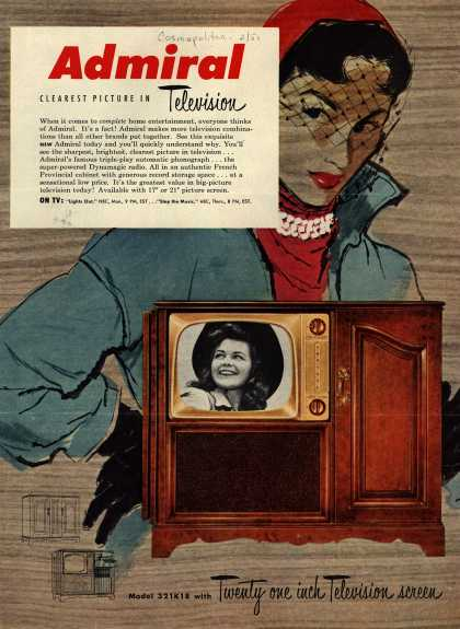 Admiral Corporation's Television Combination model # 321K18 – Admiral. Clearest Picture in Television. (1951)