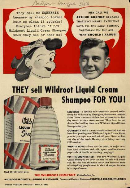 Wildroot Company's Wildroot Liquid Cream Shampoo – They sell Wildroot Liquid Cream Shampoo For You (1950)