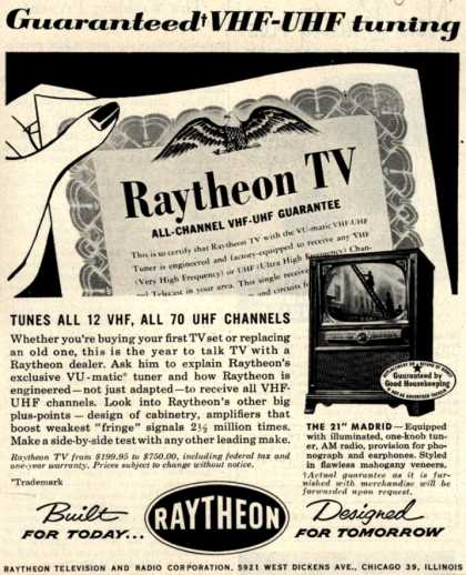 "Raytheon Manufacturing Company's 21"" Madrid – Guaranteed VHF-UHF tuning Tunes All 12 VHF, All 70 UHF Channels (1953)"